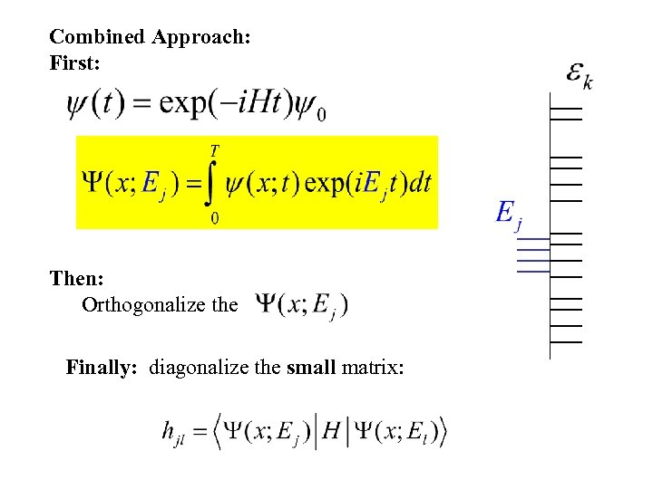 Combined Approach: First: Then: Orthogonalize the Finally: diagonalize the small matrix: