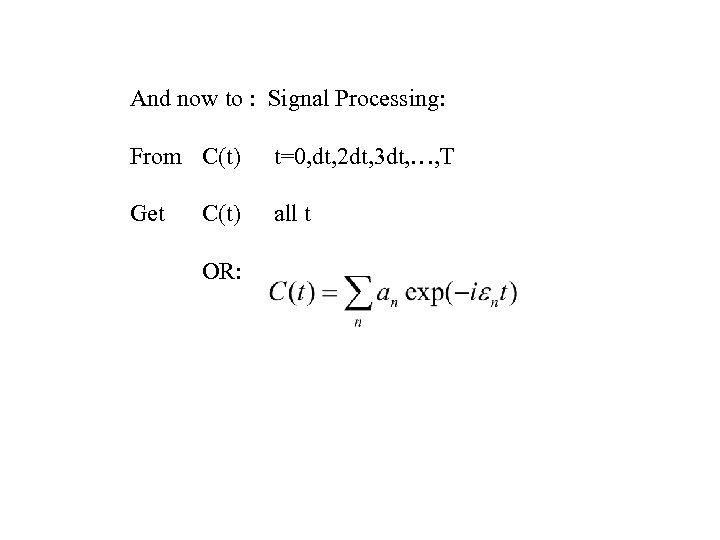 And now to : Signal Processing: From C(t) t=0, dt, 2 dt, 3 dt,