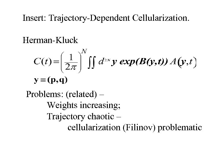Insert: Trajectory-Dependent Cellularization. Herman-Kluck Problems: (related) – Weights increasing; Trajectory chaotic – cellularization (Filinov)