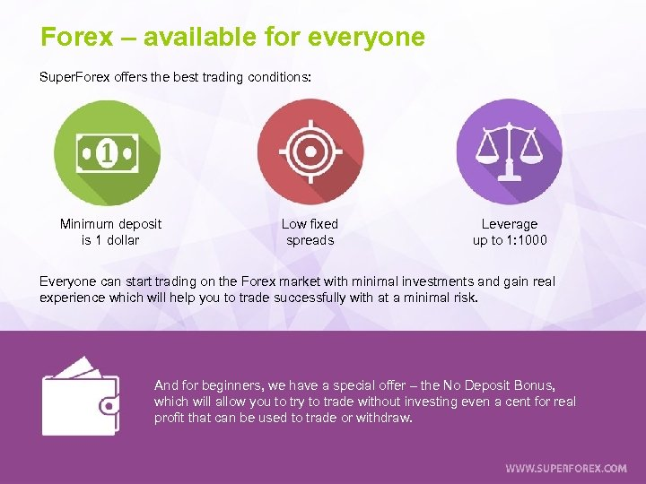 Forex – available for everyone Super. Forex offers the best trading conditions: Minimum deposit