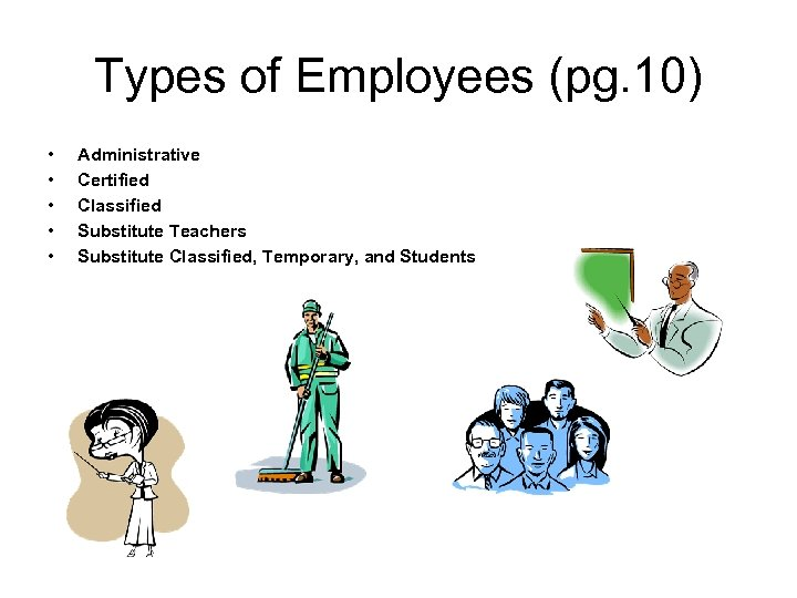 Types of Employees (pg. 10) • • • Administrative Certified Classified Substitute Teachers Substitute