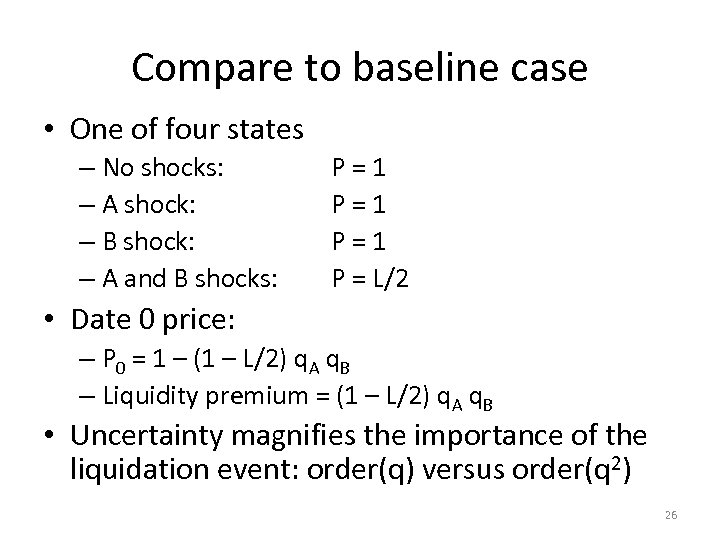 Compare to baseline case • One of four states – No shocks: – A