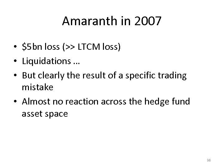 Amaranth in 2007 • $5 bn loss (>> LTCM loss) • Liquidations … •