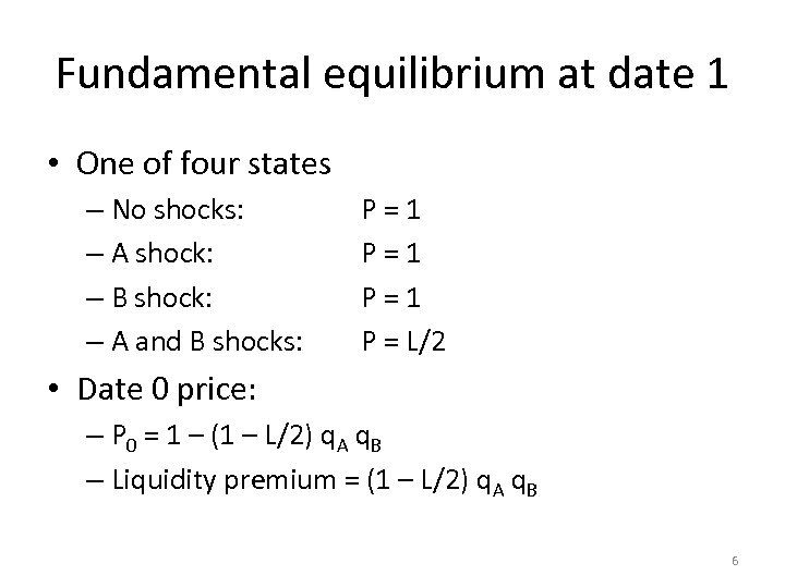 Fundamental equilibrium at date 1 • One of four states – No shocks: –