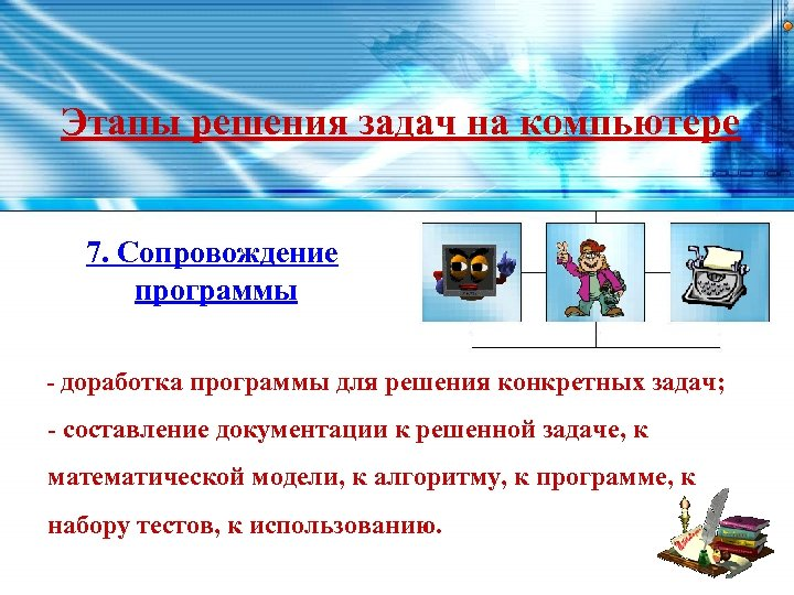 Этапы решения задач на компьютере 7. Сопровождение программы - доработка программы для решения конкретных