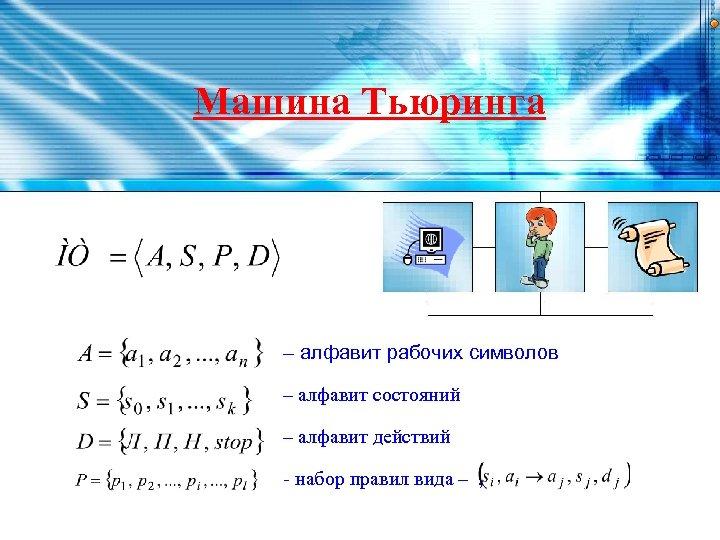 Машина Тьюринга – алфавит рабочих символов – алфавит состояний – алфавит действий - набор