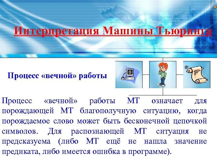 Интерпретация Машины Тьюринга Процесс «вечной» работы МТ означает для порождающей МТ благополучную ситуацию, когда