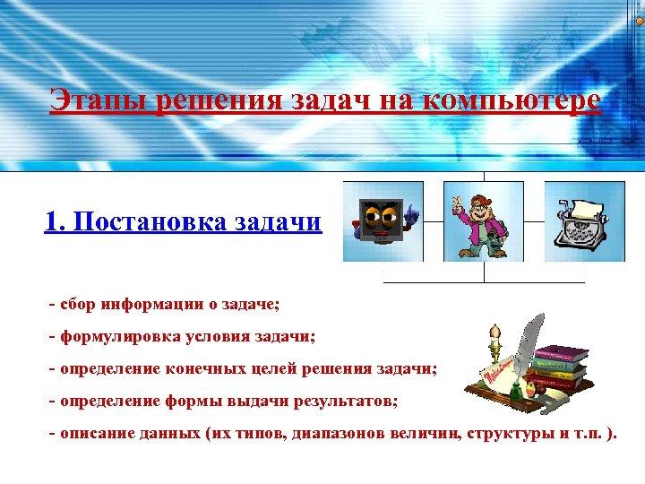 Этапы решения задач на компьютере 1. Постановка задачи - сбор информации о задаче; -