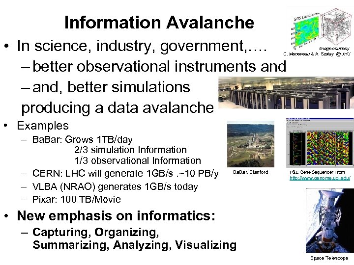 Information Avalanche • In science, industry, government, …. – better observational instruments and –