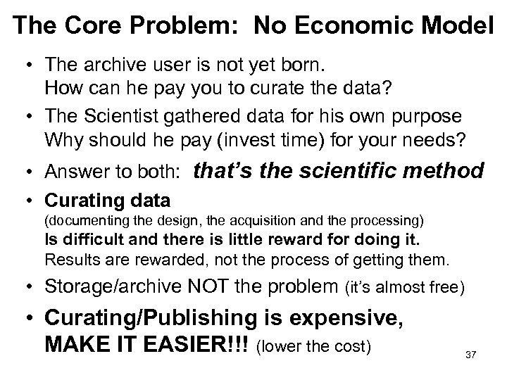 The Core Problem: No Economic Model • The archive user is not yet born.