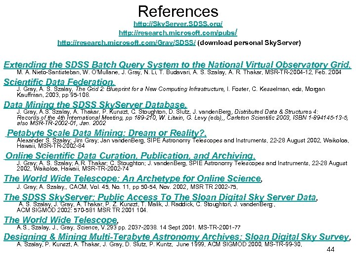 References http: //Sky. Server. SDSS. org/ http: //research. microsoft. com/pubs/ http: //research. microsoft. com/Gray/SDSS/