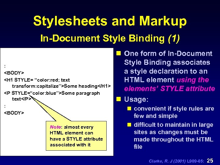 """Stylesheets and Markup In-Document Style Binding (1) : <BODY> <H 1 STYLE= """"color: red;"""