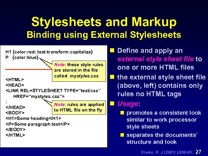 Stylesheets and Markup Binding using External Stylesheets H 1 {color: red; text-transform: capitalize} P