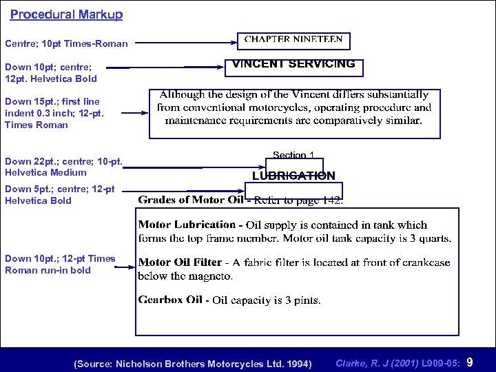 Procedural Markup Centre; 10 pt Times-Roman Down 10 pt; centre; 12 pt. Helvetica Bold