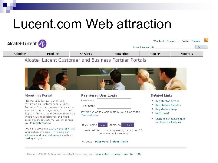 Lucent. com Web attraction