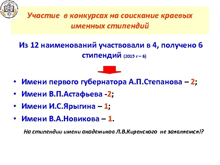 Участие в конкурсах на соискание краевых именных стипендий Из 12 наименований участвовали в 4,