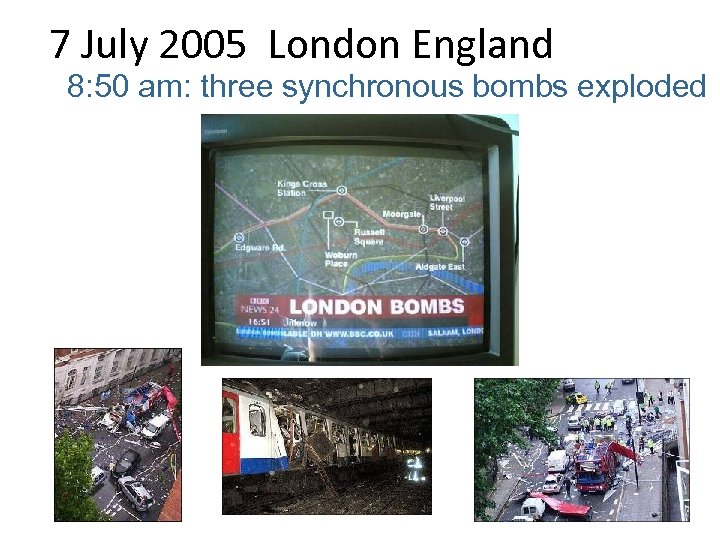 7 July 2005 London England 8: 50 am: three synchronous bombs exploded