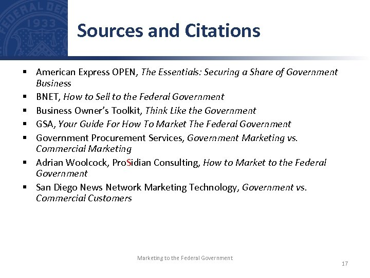 Sources and Citations § American Express OPEN, The Essentials: Securing a Share of Government