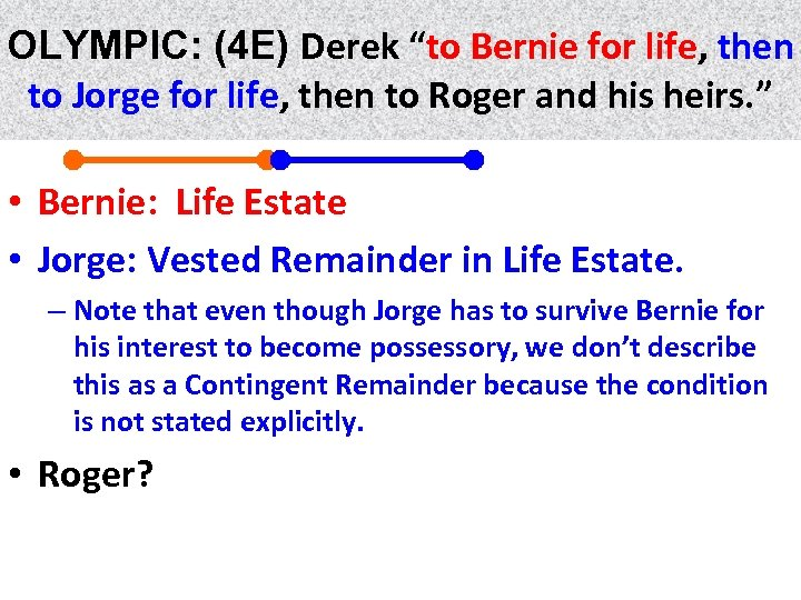 """OLYMPIC: (4 E) Derek """"to Bernie for life, then life to Jorge for life,"""