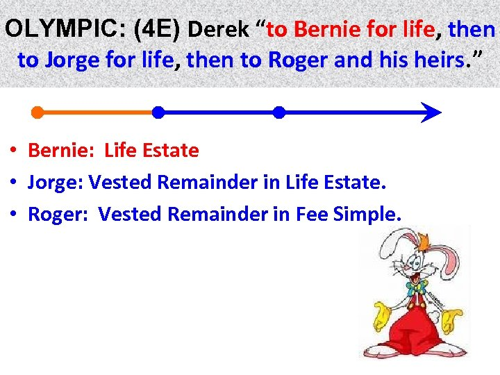 "OLYMPIC: (4 E) Derek ""to Bernie for life, then life to Jorge for life,"