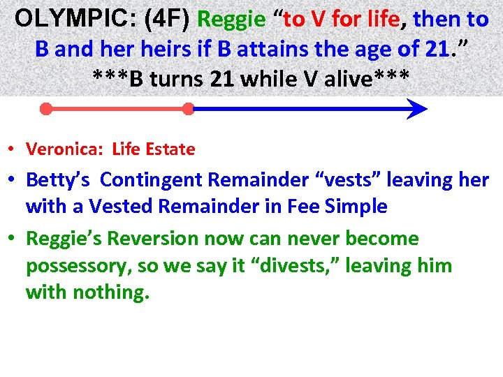 "OLYMPIC: (4 F) Reggie ""to V for life, then to life B and her"