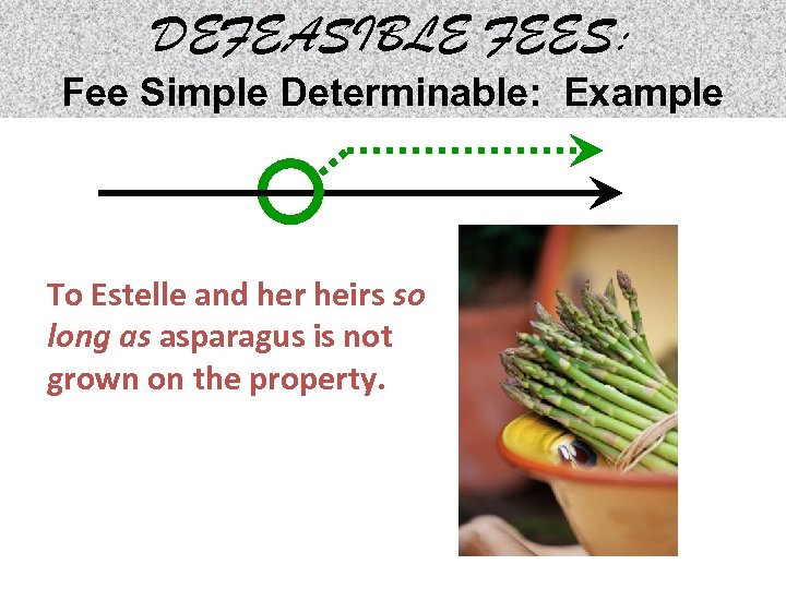 DEFEASIBLE FEES: Fee Simple Determinable: Example To Estelle and her heirs so long as