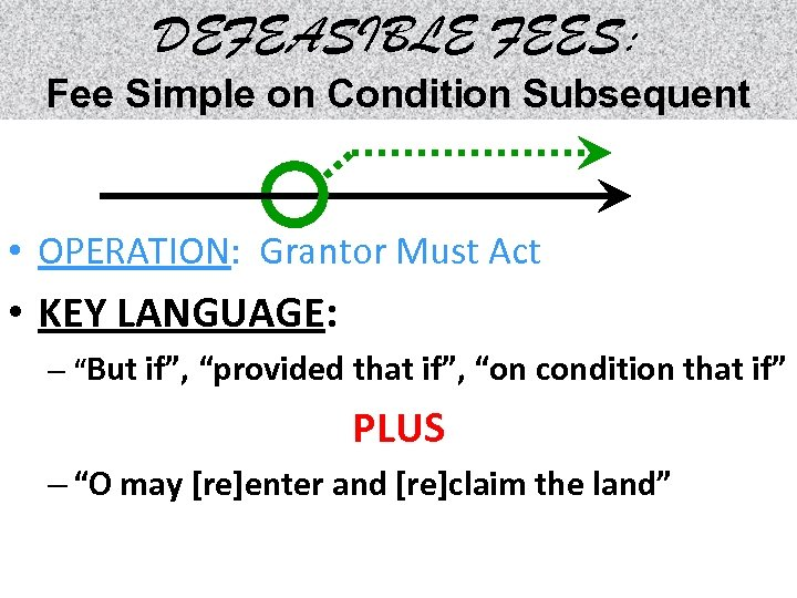 DEFEASIBLE FEES: Fee Simple on Condition Subsequent • OPERATION: Grantor Must Act • KEY