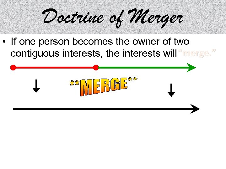 Doctrine of Merger • If one person becomes the owner of two contiguous interests,