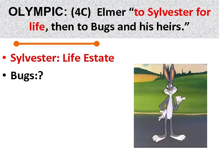 "OLYMPIC: (4 C) Elmer ""to Sylvester for life, then to Bugs and his heirs."