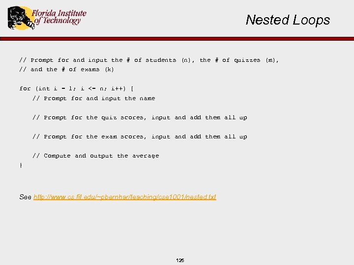 Nested Loops // Prompt for and input the # of students (n), the #