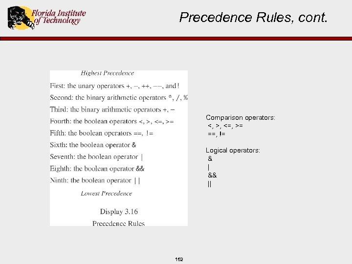 Precedence Rules, cont. Comparison operators: <, >, <=, >= ==, != Logical operators: &