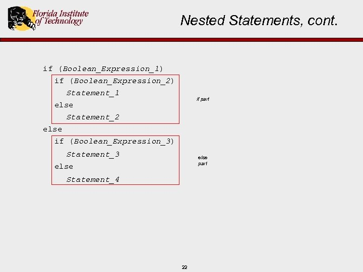 Nested Statements, cont. if (Boolean_Expression_1) if (Boolean_Expression_2) Statement_1 if part else Statement_2 else if