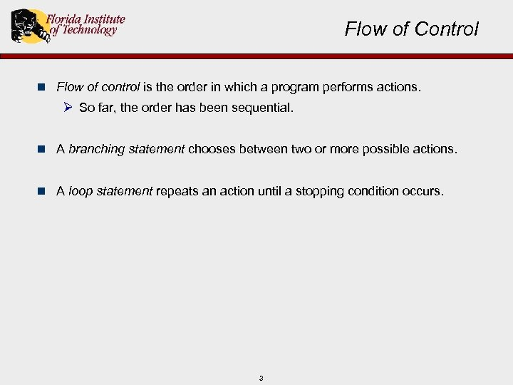 Flow of Control n Flow of control is the order in which a program