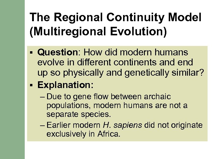 The Regional Continuity Model (Multiregional Evolution) Question: How did modern humans evolve in different