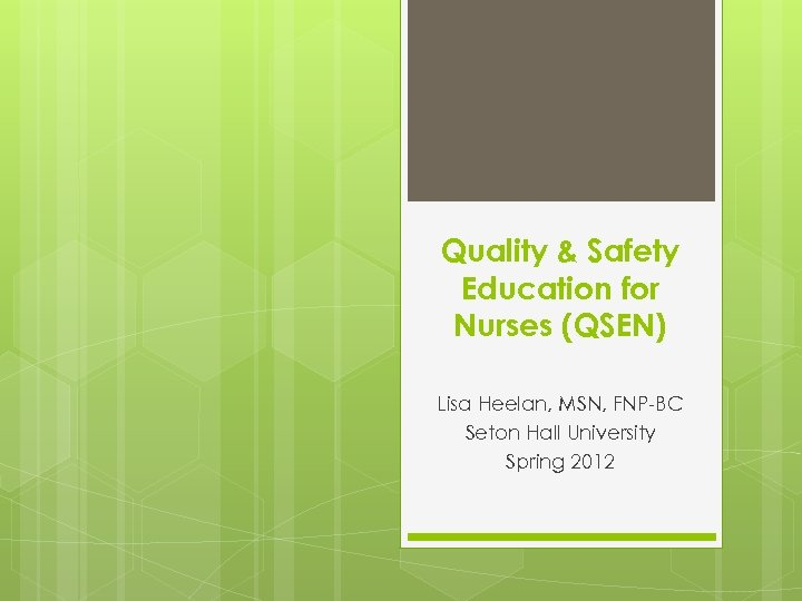 Quality & Safety Education for Nurses (QSEN) Lisa Heelan, MSN, FNP-BC Seton Hall University
