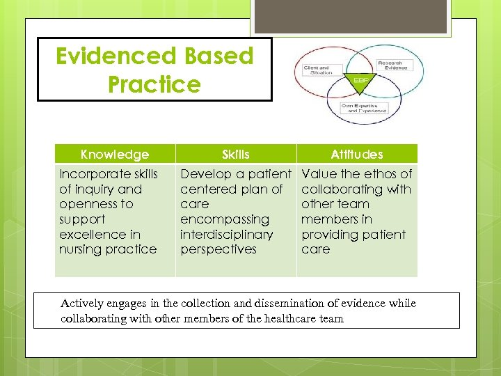 Evidenced Based Practice Knowledge Incorporate skills of inquiry and openness to support excellence in