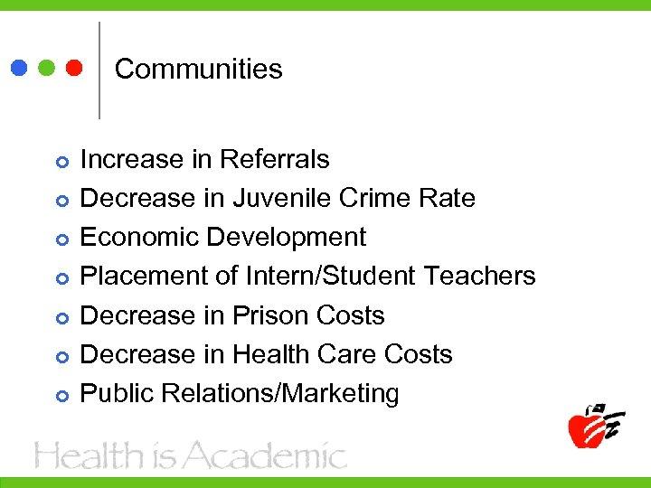 Communities Increase in Referrals Decrease in Juvenile Crime Rate Economic Development Placement of Intern/Student