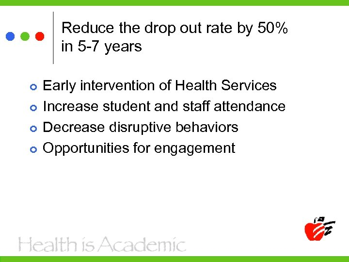 Reduce the drop out rate by 50% in 5 -7 years Early intervention of
