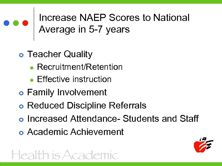 Increase NAEP Scores to National Average in 5 -7 years Teacher Quality l l