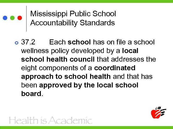 Mississippi Public School Accountability Standards 37. 2 Each school has on file a school