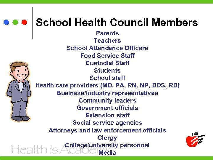 School Health Council Members Parents Teachers School Attendance Officers Food Service Staff Custodial Staff