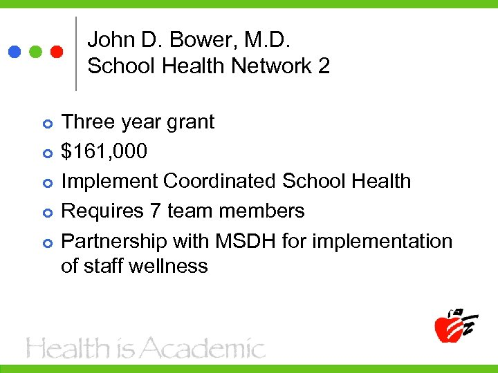 John D. Bower, M. D. School Health Network 2 Three year grant $161, 000