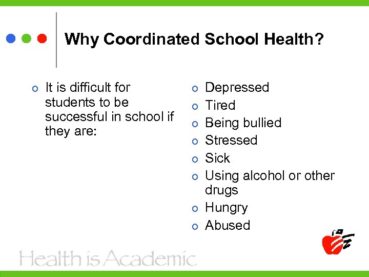 Why Coordinated School Health? It is difficult for students to be successful in school