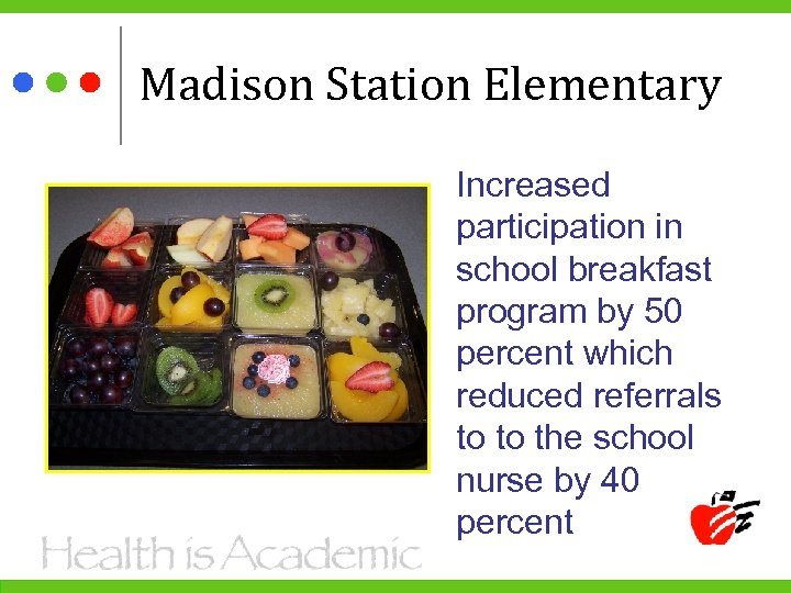Madison Station Elementary Increased participation in school breakfast program by 50 percent which reduced