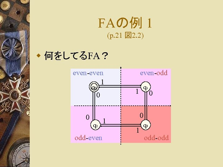 FAの例 1 (p. 21 図 2. 2) w 何をしてるFA? even-even 1 q 0 q