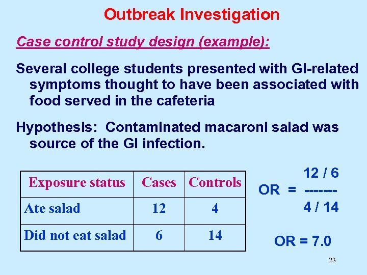 Outbreak Investigation Case control study design (example): Several college students presented with GI-related symptoms