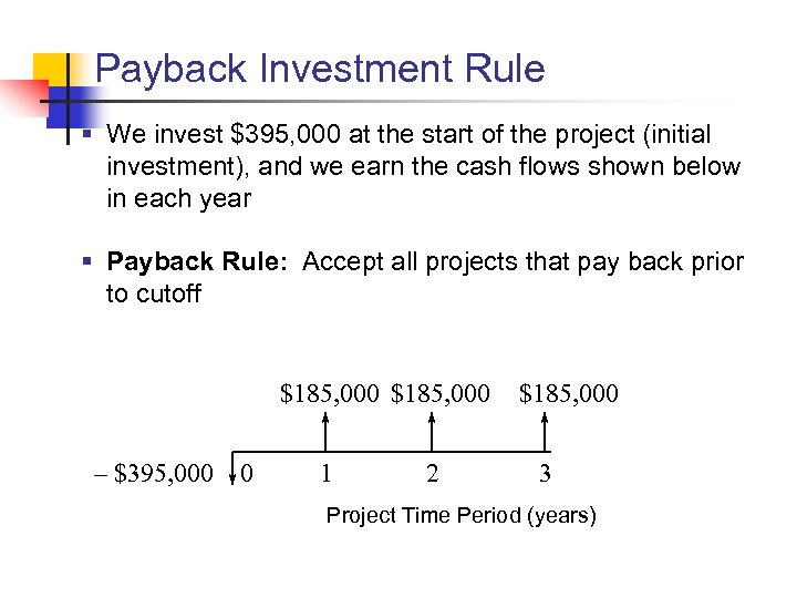 Payback Investment Rule § We invest $395, 000 at the start of the project