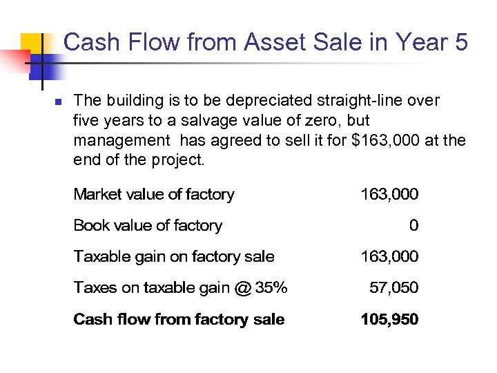 Cash Flow from Asset Sale in Year 5 n The building is to be