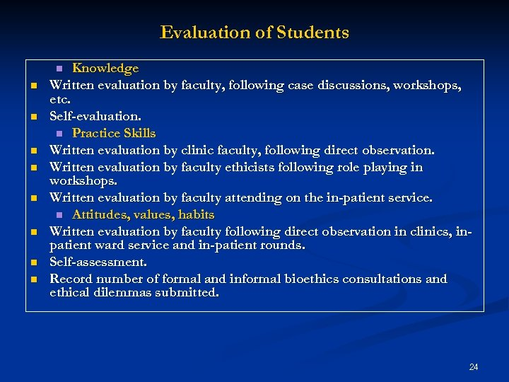 Evaluation of Students Knowledge Written evaluation by faculty, following case discussions, workshops, etc. Self-evaluation.