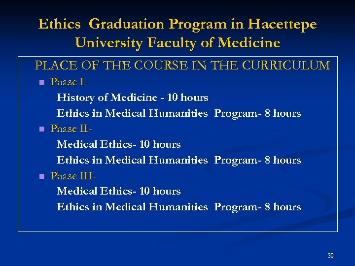 Ethics Graduation Program in Hacettepe University Faculty of Medicine PLACE OF THE COURSE IN